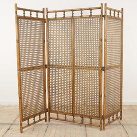"5'9"" Wooden & Cane 3-Fold Screen"