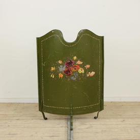 Green Metal Bow Front Firescreen with Flower Patt