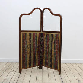 Small Mah Vict Style Two Panel  Fabric Screen