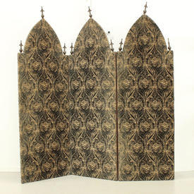 9'  x  4' 3-Fold Screen in Green & Cream Damask Velvet with Metal Finials