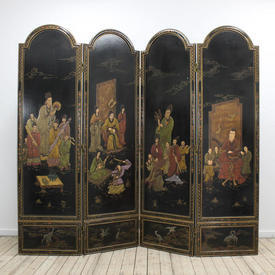 6' 4-Fold Black & Gold Dome Top Oriental Screen with Oriental Figures