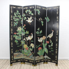 6' 4 Fold Black Lacquer Oriental Screen with Cranes & Flowers