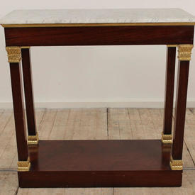"""3'4"""" Mahogany & Gilt  Decor Empire Side Table with White Marble Top"""
