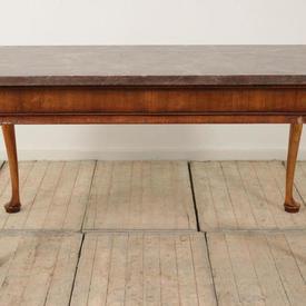 5' Walnut Georgian Side Table on Pad Feet & Marbleized Top