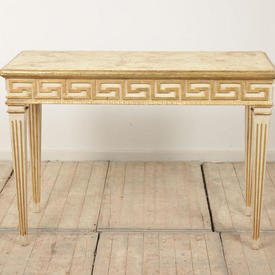 "3'9"" Cream & Gilt Side Table with Greek Key Pattern & Painted Marble Top"