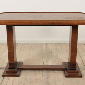 4' Walnut Deco Style Side Table with Clear Glass insert