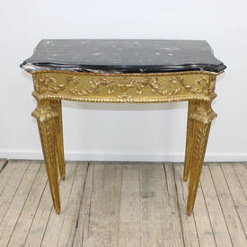 """2'9"""" Carved Gilt Louis Shaped Front Side Table with Marble Top"""