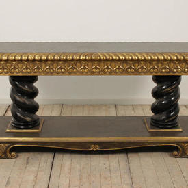 6' Carved Gilded Georgian 2 Tier Side Table on Black Twist Pedestal (W183Cm  x  D51Cm  x  H82Cm)
