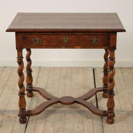 "2'8"" Walnut Single Drawer Georgian Side Table on Barley Twist Legs, with Circular Design on Top"