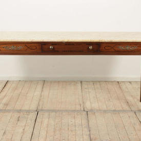 "6'6"" Mahogany Regency Serving Table, Beige Marble Top"