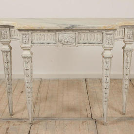 """3'6"""" White Painted Side Table on Carved Tapered Legs, Shaped Corners & Marbilised Top (H89Cm  x  W119Cm  x  D42Cm)"""