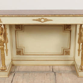 4' Cream & Gilt Egyptian Side Table with Marbilised Top