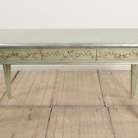 5' Jade Green And Silver Leaf 1 Drawer Side Table