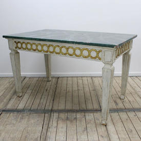 "4'5""  x  2'7"" White Painted Side Table with Gilt Circles"