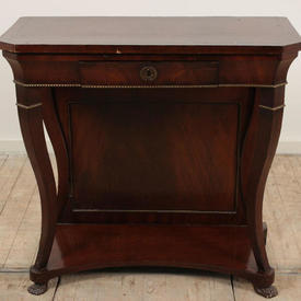 Mahogany & Brass 1 Drawer Claw Feet Side Table