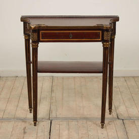 Mahogany & Brass 1 Drawer 2 Tier Empire Style Side Table