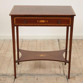 Mahogany 2' Victorian Style inlaid Single Drawer Side Table