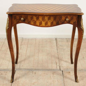 "Light Mahogany 2'6"" one Drawer Louis Style Side Table on Cabriole Legs, Parquetry Top Amd Sides"