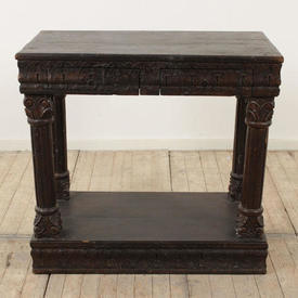 "3'3"" Dark Hardwood 2-Drawer Side Table"