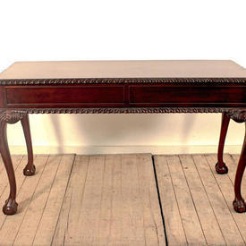 "4'4"" Mahogany Chippendale Style 2-Drawer Side Table on Ball & Claw Feet"