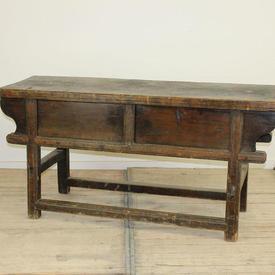 5' Oak Square Legged Side Table with Sliding Doors (Missing one Sliding Door)