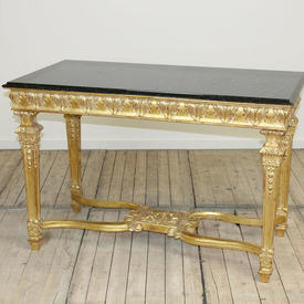 "4'2"" x  2'2"" Gilded Acanthus Leaf Decor Side Table on Cross Frame Base with Black Marble Top"