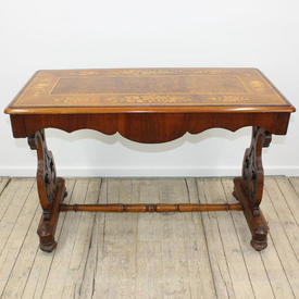 "3'6""  x  1'8"" Mah & Walnut, Floral, Fruit inlaid Top Side Table, Figure Upstands"