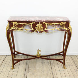 "4'2"" Mah Tall Site Table on  x -Frame with Bronze Gilt Mount'S, Pink Marble Top"