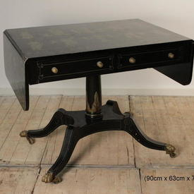 Regency Style Japanned Sofa Table on Sabre Legs