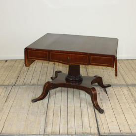 Recency Style Mahogany Sofa Table with Satinwood inlaid Band on Claw Feet