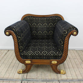 Satinwood Regency Armchair, Gold Stripe Brocade