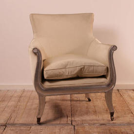 Silver Leaf Framed Regency Library Chair Upholstered in Silver Ribbed Silk