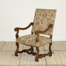 William & Mary Upholstered Open Arm Chairs
