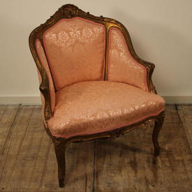 Gilt Tub Salon Chairs in Pink Damask