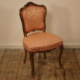 Gilt Occ Chairs in Pink Damask Seat / Back