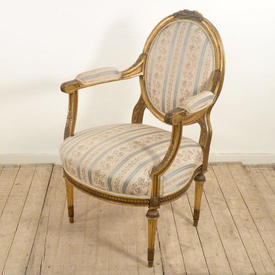French Giltwood Framed Open Armchair Uphol in Regency Stripe