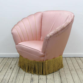 "Pink Satin Shell Shaped Chair with Gold Bullion & Tassels (W2'10""  x  D2'5""  x  H2'8"")"