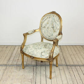 Gilt Framed Louis Style Oval Backed Open Armed Chair in Green Swirl Upholstery