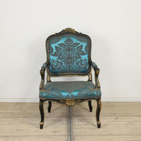 Black & Gilt Painted Frame Open Armchair in Petrol Blue Damask