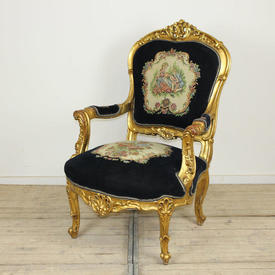 Carved Gilt French Style Open Armchair in Dark Blue Upholstery with Aubusson insert (H113Cm  x  W76Cm  x  D76Cm)