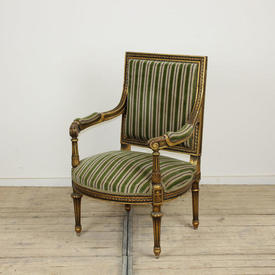 Gilt Framed French Style Open Armchair with Green Striped Velvet Upholstery