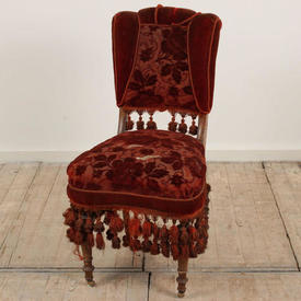 Rust Velvet Victorian Occasional Nursing Chair with Tassels