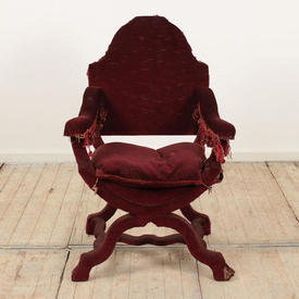 Red Velvet Cross Frame Open Elbow Chair