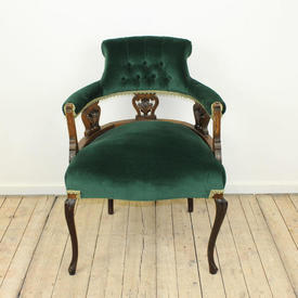 Mah Open Arm Edwardian Chair in Gold Velvet Uphol