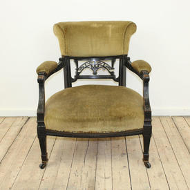 Mah Open Arm Edwardian Style Chair Green/Gold Uphol