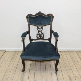 Mahogany Open Arm Vict Style Chair Blue Velvet Upholstery