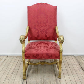 Gilt & Red Damask Upholstered Chair Lion Head Arms Dome Back