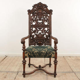 "Carved Walnut Tall Pierced Back And Open Arm Chair on  x  Frame Base, Green And Cream Brocade (H4'7"" x w2' x d1'11"")"