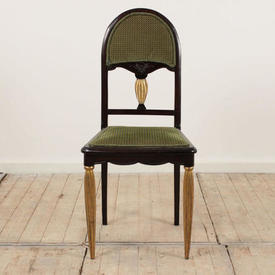 Black & Gilt Painted French Dome Back Salon Occasional with Green Cord Upholstered Seat & Back