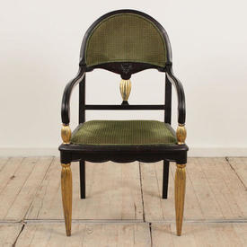 Black & Gilt Painted French Dome Back Salon Open Armchair with Green Cord Upholstered Seat & Back